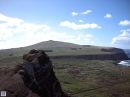 This is the view from the top of Rano Raraku, right above the moai nursery.  It's not a very difficult climb, and well worth the effort for the amazing view.